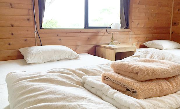 こだわりリネンのベッド